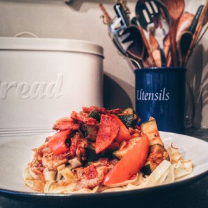 Spanish Chorizo, Chicken & Summer Vegetables with Tagliatelle Recipe with V8