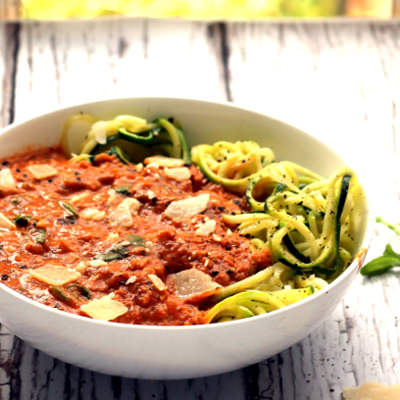Bloody Mary Lentil Bolognese with Courgetti