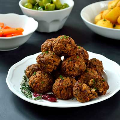 Hazelnut & Cranberry Stuffing Balls made with V8 Original juice