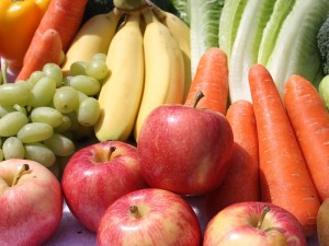 A large portion of fruit and vegetables