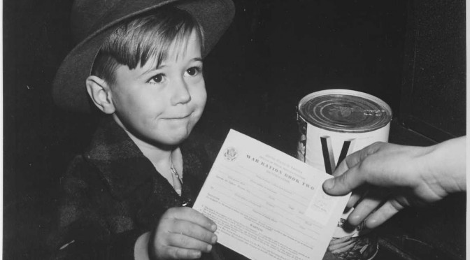 Boy buying V8 with a ration card