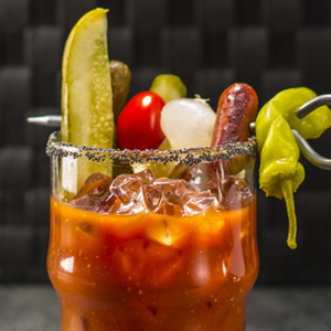 Chicago-style American Bloody Mary cocktail with big garnish