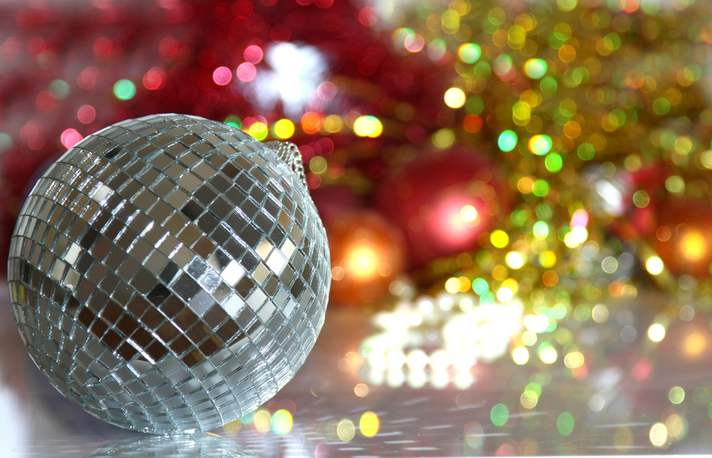 A disco ball and tinsel for christmas