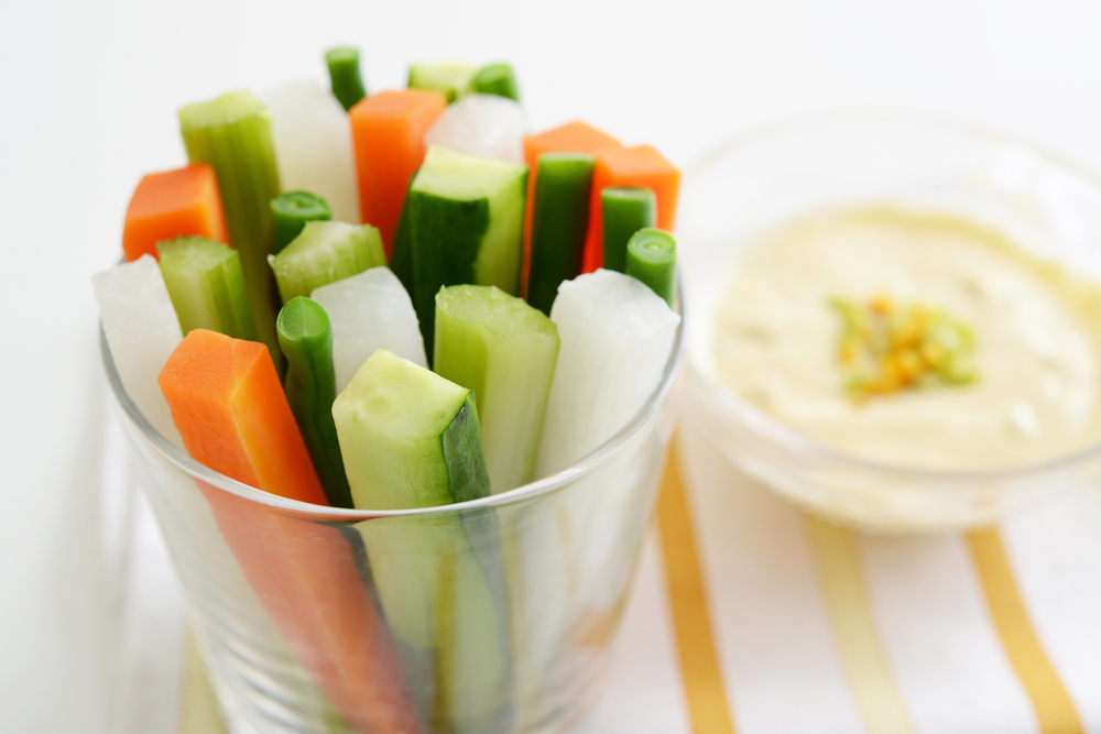 Veggie sticks and hummus packed lunch hacks