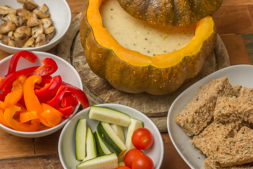 Roasted pumpkin fondue with vegetables for dipping